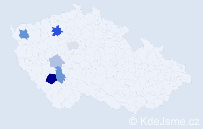 Příjmení: 'Hloucha', počet výskytů 17 v celé ČR