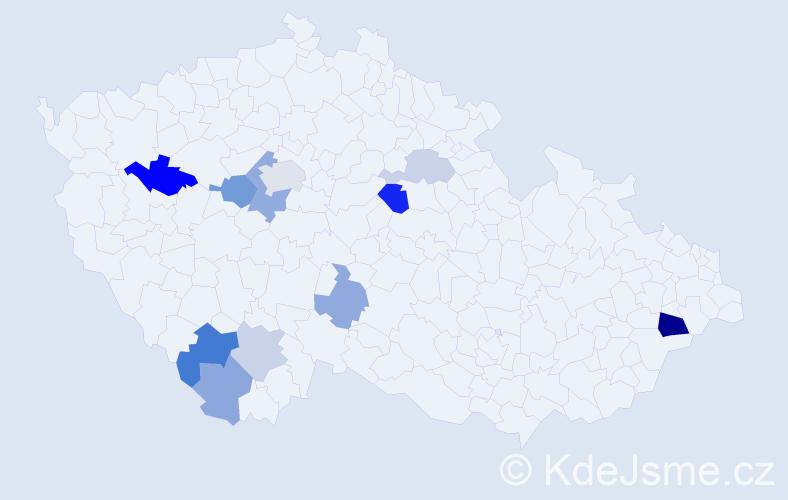 Příjmení: 'Cypro', počet výskytů 21 v celé ČR