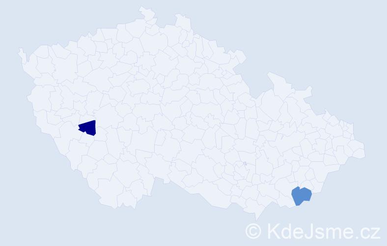 Příjmení: 'Cat', počet výskytů 3 v celé ČR