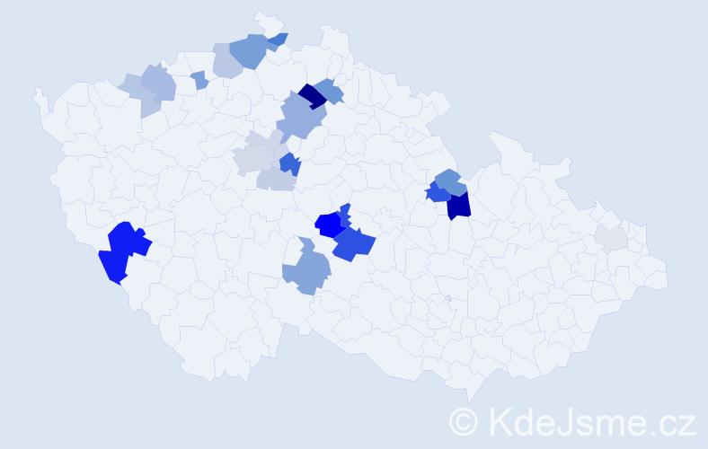 Příjmení: 'Bedrníček', počet výskytů 60 v celé ČR