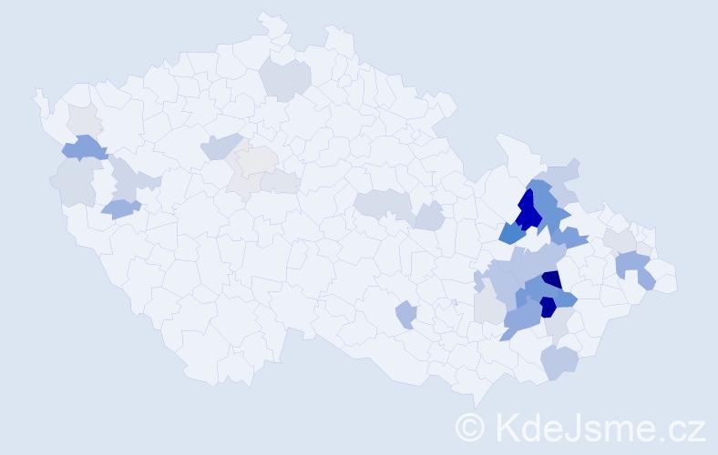 Příjmení: 'Klesnil', počet výskytů 124 v celé ČR