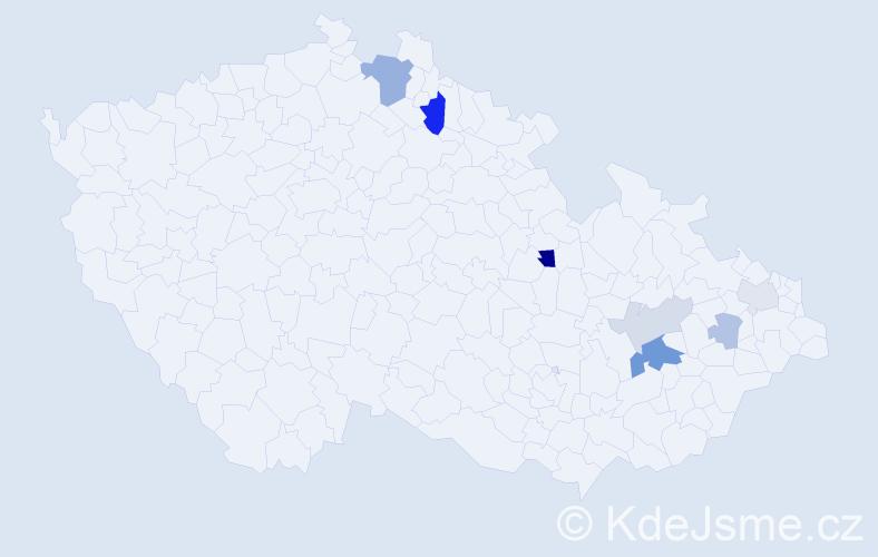 Příjmení: 'Gardiánová', počet výskytů 16 v celé ČR