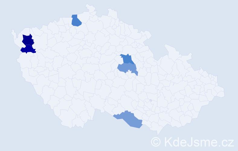 Příjmení: 'Dzobová', počet výskytů 10 v celé ČR