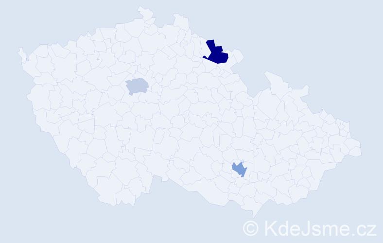 Příjmení: 'Ghalib', počet výskytů 3 v celé ČR