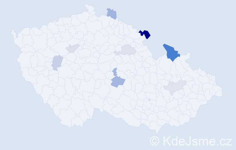 Příjmení: 'Čorej', počet výskytů 16 v celé ČR