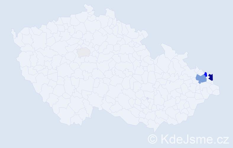 Příjmení: 'Ciastoň', počet výskytů 14 v celé ČR