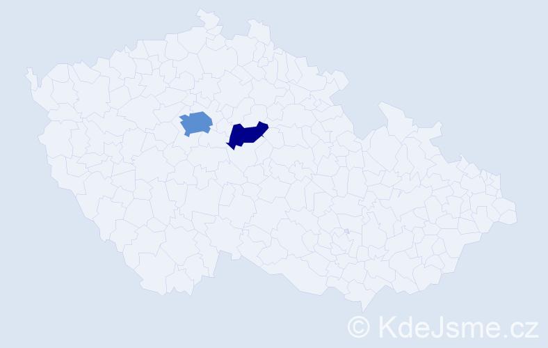 Příjmení: 'Kniplová', počet výskytů 5 v celé ČR