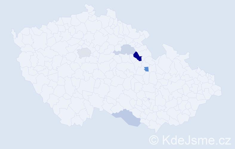 Příjmení: 'Geniková', počet výskytů 9 v celé ČR