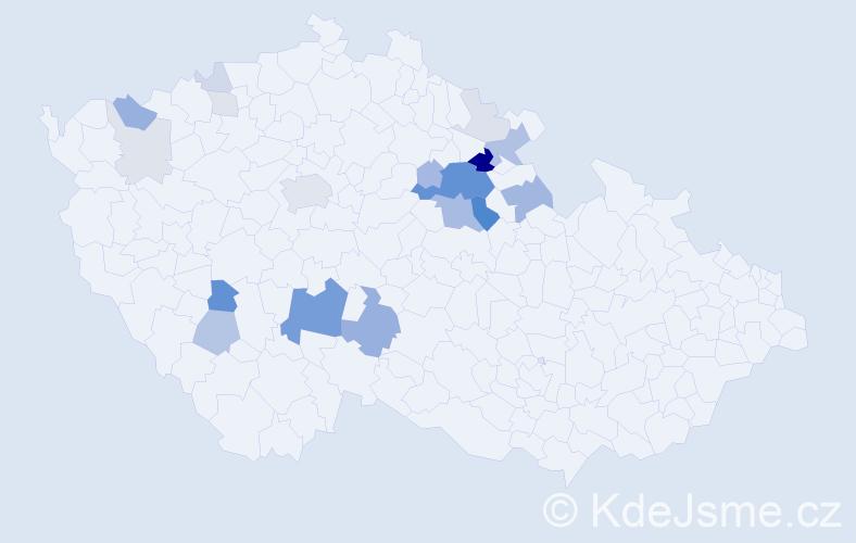 Příjmení: 'Krám', počet výskytů 65 v celé ČR