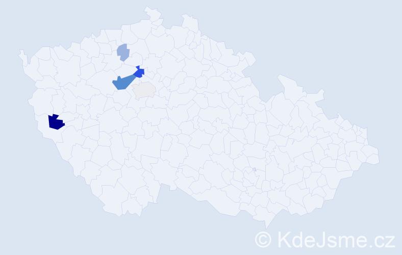 Příjmení: 'Hauge', počet výskytů 19 v celé ČR