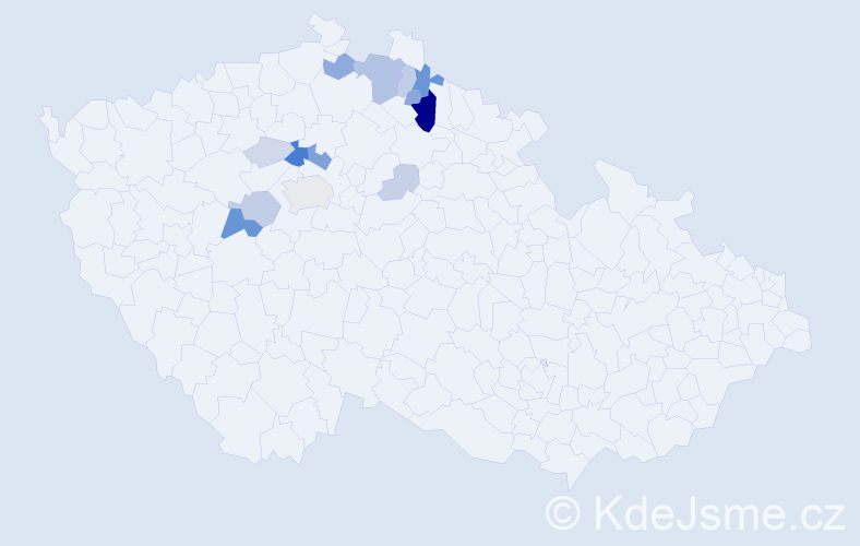 Příjmení: 'Holina', počet výskytů 45 v celé ČR