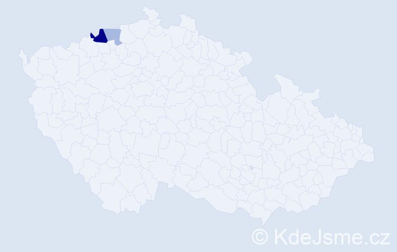Příjmení: 'Chadžijevová', počet výskytů 4 v celé ČR