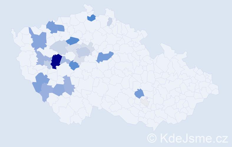Příjmení: 'Hanzelínová', počet výskytů 76 v celé ČR