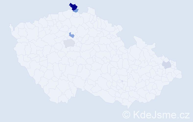Příjmení: 'Krátkoruká', počet výskytů 13 v celé ČR