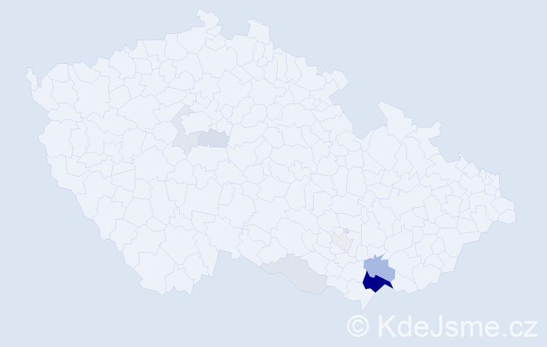 Příjmení: 'Lamáček', počet výskytů 29 v celé ČR