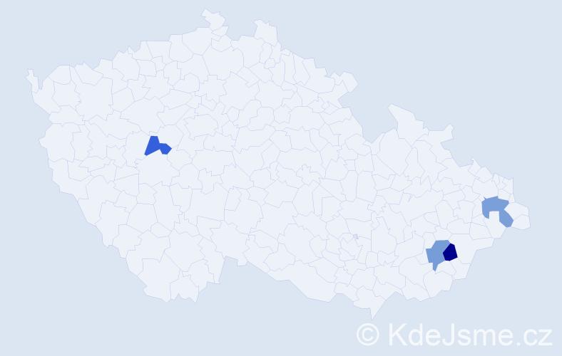 Příjmení: 'Družba', počet výskytů 10 v celé ČR