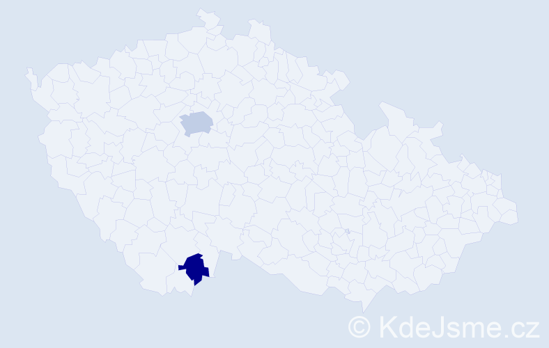 Příjmení: 'Jabali', počet výskytů 9 v celé ČR