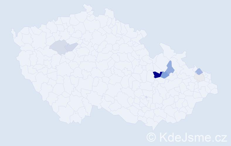 Příjmení: 'Čislinská', počet výskytů 15 v celé ČR