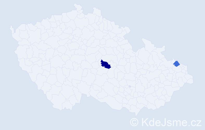 Příjmení: 'Cuno', počet výskytů 4 v celé ČR
