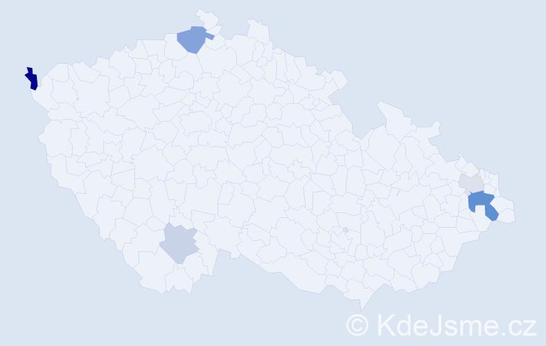 Příjmení: 'Haragalová', počet výskytů 10 v celé ČR