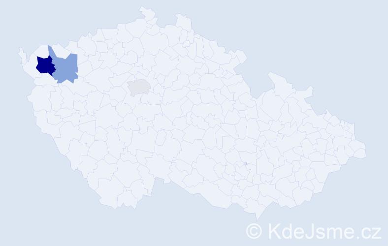 Příjmení: 'Corfu', počet výskytů 6 v celé ČR