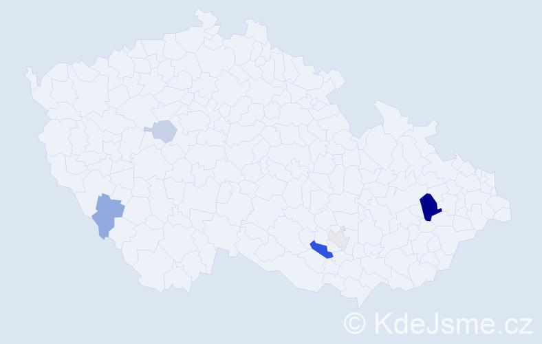 Příjmení: 'Janiček', počet výskytů 13 v celé ČR