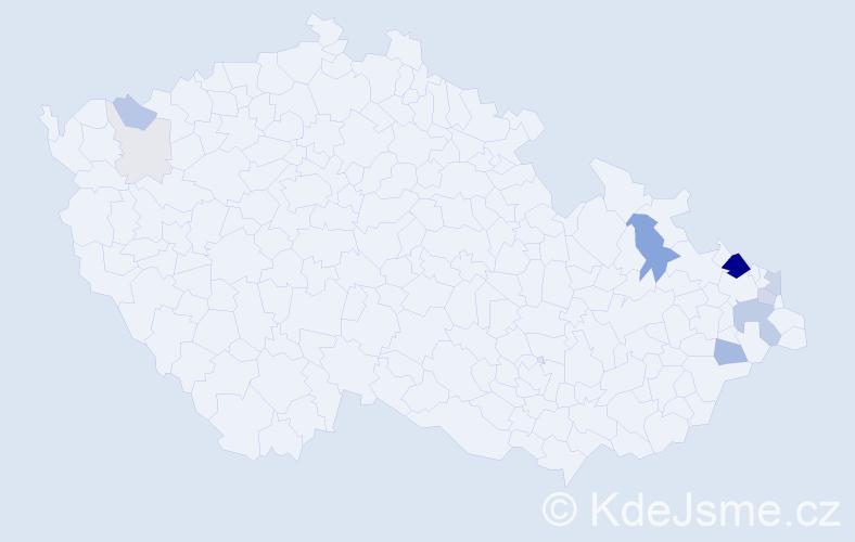 Příjmení: 'Čuraj', počet výskytů 44 v celé ČR