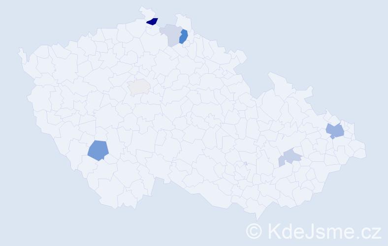 Příjmení: 'Koral', počet výskytů 17 v celé ČR