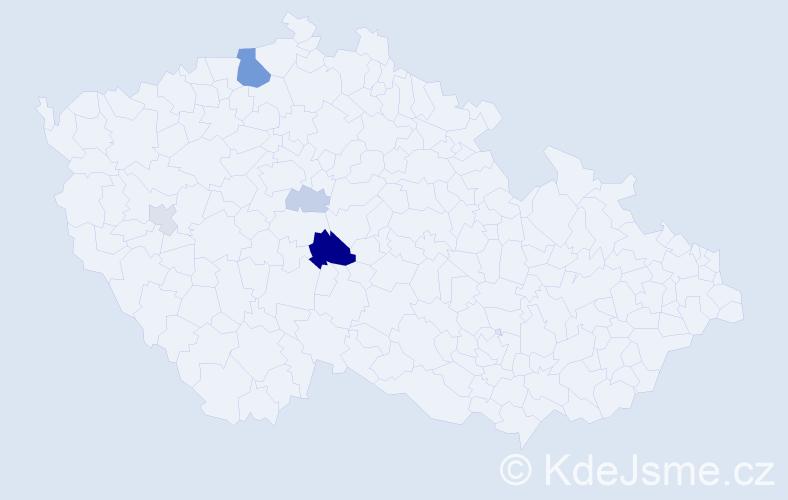 Příjmení: 'Lalouček', počet výskytů 13 v celé ČR