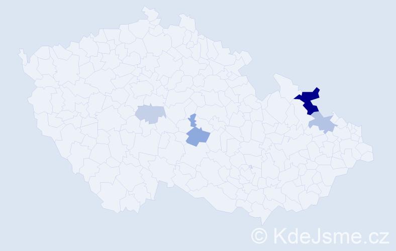 Příjmení: 'Hodža', počet výskytů 13 v celé ČR