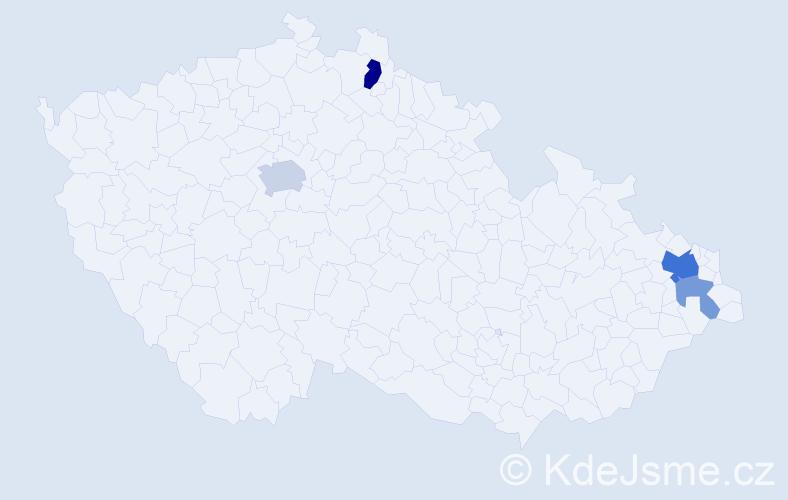 Příjmení: 'Čolasová', počet výskytů 9 v celé ČR