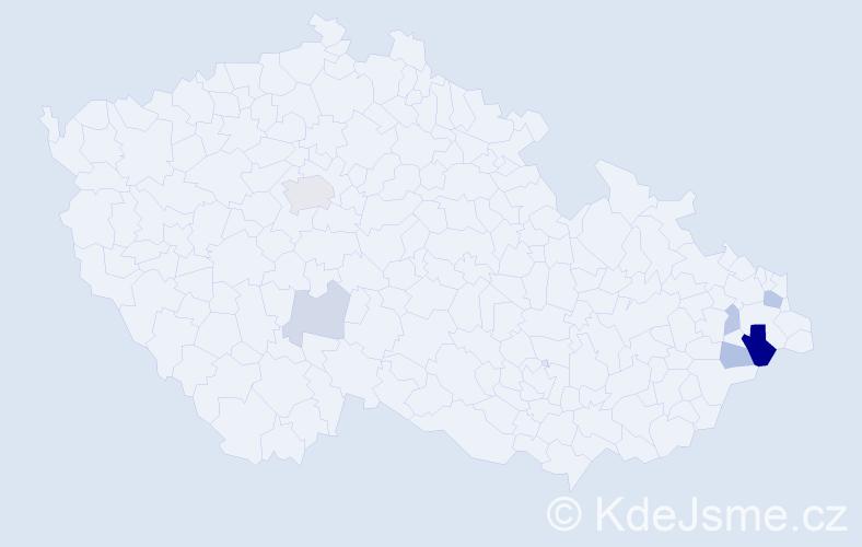 Příjmení: 'Klím', počet výskytů 13 v celé ČR