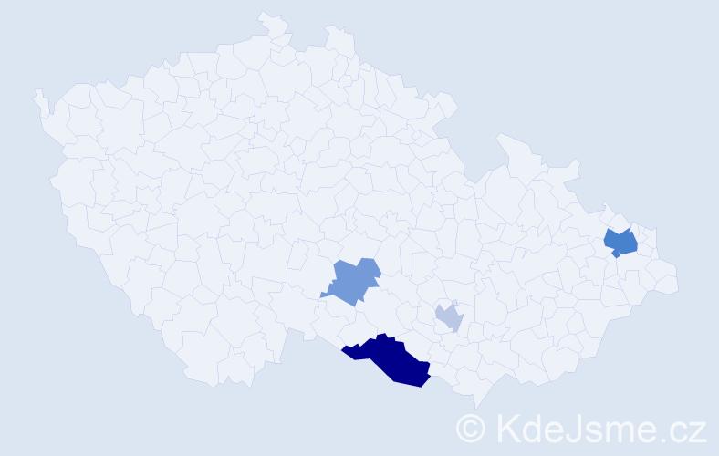 Příjmení: 'Čepura', počet výskytů 9 v celé ČR