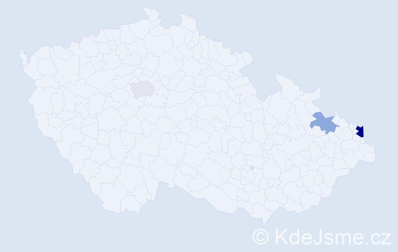 Příjmení: 'Bilous', počet výskytů 6 v celé ČR
