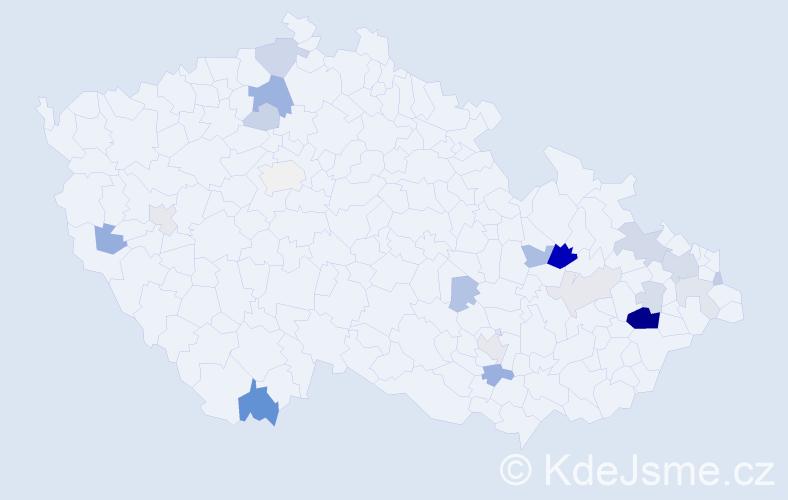 Příjmení: 'Kostelný', počet výskytů 53 v celé ČR