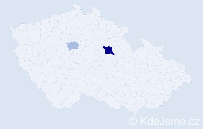 """Příjmení: '""""Hain-Schmiedberský""""', počet výskytů 2 v celé ČR"""