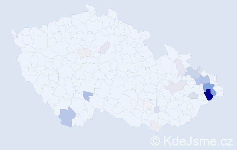 Příjmení: 'Fuciman', počet výskytů 107 v celé ČR