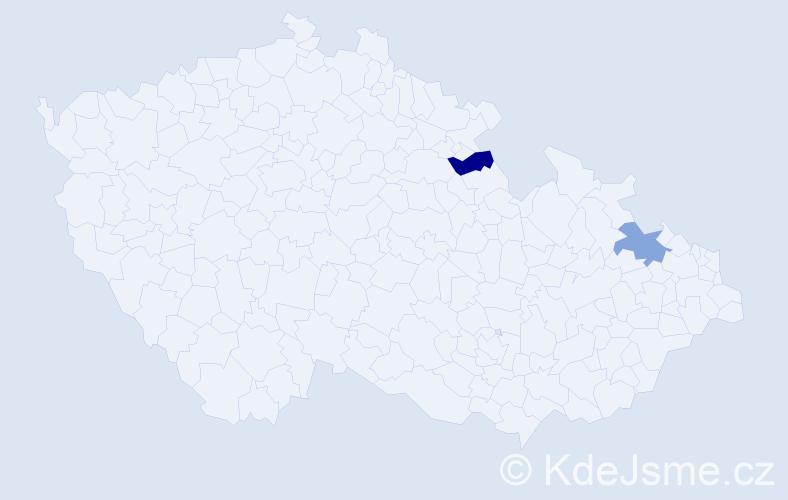 Příjmení: 'Harajbičová', počet výskytů 2 v celé ČR