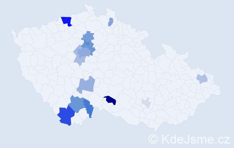Příjmení: 'Hütter', počet výskytů 32 v celé ČR