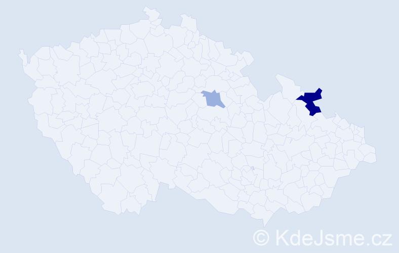 Příjmení: 'Ďurišíková', počet výskytů 7 v celé ČR