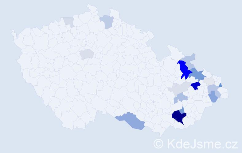 Příjmení: 'Bílka', počet výskytů 53 v celé ČR