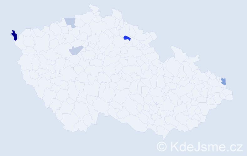 Příjmení: 'Čokina', počet výskytů 7 v celé ČR