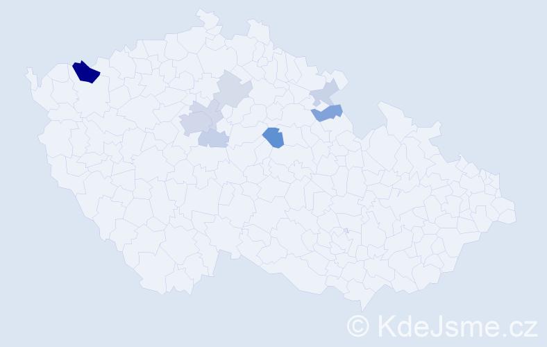 Příjmení: 'Hospodský', počet výskytů 22 v celé ČR