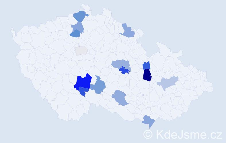 Příjmení: 'Čabáková', počet výskytů 20 v celé ČR