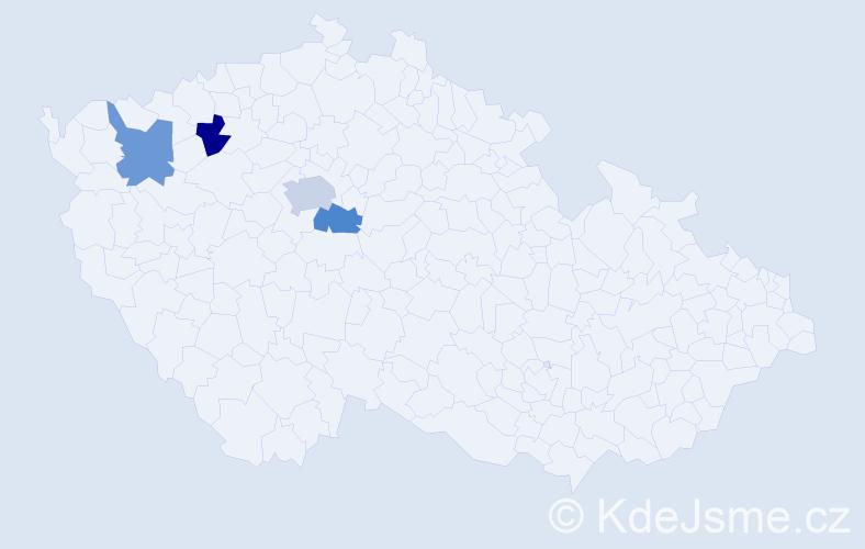 Příjmení: 'Čeklovská', počet výskytů 5 v celé ČR