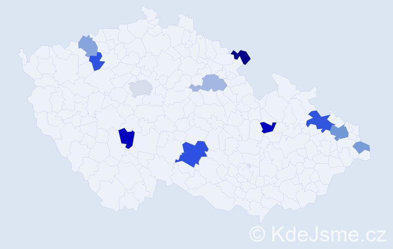 Příjmení: 'Gerová', počet výskytů 19 v celé ČR