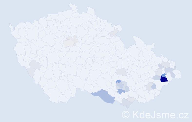 Příjmení: 'Hlucháň', počet výskytů 84 v celé ČR