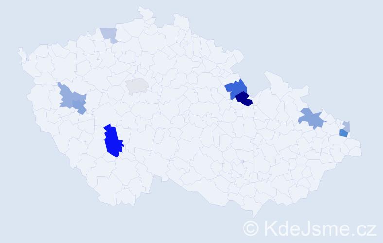 Příjmení: 'Justich', počet výskytů 23 v celé ČR