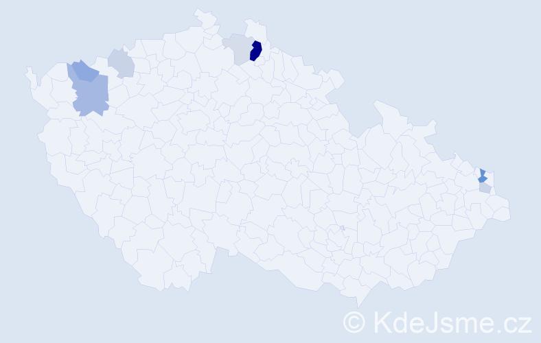 Příjmení: 'Kančí', počet výskytů 18 v celé ČR