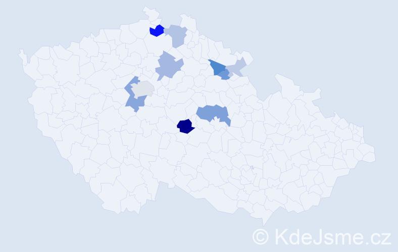Příjmení: 'Černohubová', počet výskytů 24 v celé ČR